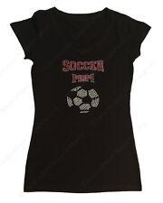 """Women's Rhinestone T-Shirt """" Soccer Mom """" in S, M, L, XL, 2X, 3X, Bling, Sports"""