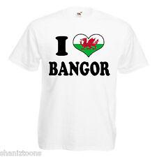 I Love Heart Bangor Wales Adults Mens T Shirt 12 Colours Size S - 3XL
