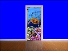 Acuario pescado de mar océano puerta Envoltura de Impresión Mural Adhesivo Pared Arte a todo color P1A