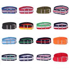 Women 14mm Nylon Stripe Nato Cambo Watch Strap Wristwatch Band Buckle Watchband