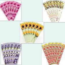 6 BOOKMARKS Sunflower Daisy Poppy Pansy Iris Flower Floral Birthday Gift Her Mum