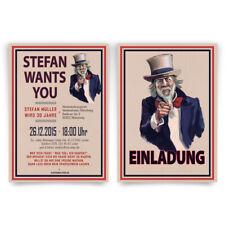 Einladungen zum Geburtstag - I Want You - Uncle Sam USA Einladungskarten