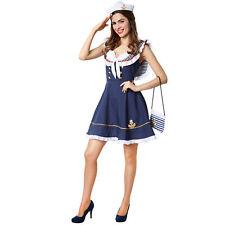 1e54b2300f6c Costume per Donna Ragazza del Marinaio Outfit Blu Bianco Carnevale Festa  Nuovo