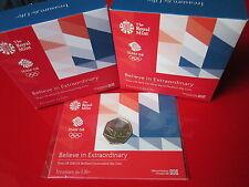 Team GB 2016 Rio Olympics UK 50p BUNC,Silver Proof, Piedfort Coins