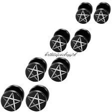 2-8pcs Dumbell Inverted Pentagram Black Stainless Steel Men Women Stud Earrings