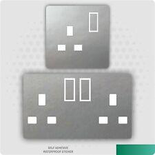 Metallic Metal Effect UK Plug Socket Stickers Kids Bedroom Living Room Decor