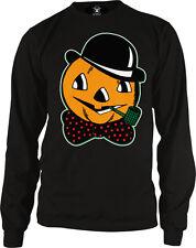 Trick Or Treat Haloween Pumpkin Skull Pipe Bowtie Hat Long Sleeve Thermal