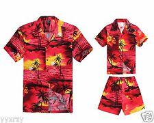 Matching Father Son Hawaiian Luau Outfit Men Shirt Boy Shirt Shorts Sunset Red P