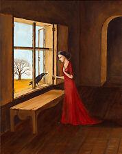 5x7 PRINT OF PAINTING RYTA RAVEN CROW GOTHIC WITCH HALLOWEEN FOLK ART LOWBROW