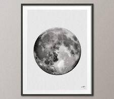 Impresión De Acuarela De La Luna, Luna llena regalo de bodas impresión archival Bellas Arte Decoración de pared