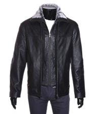 Freeman noir men's smart vintage véritable veste en cuir souple d'agneau