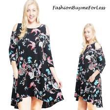 PLUS Black 3/4 Sleeve Cold Shoulder English Floral Flared Gypsy Dress 1X 2X 3X