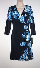 NWT MSRP $149 - LAUREN RALPH LAUREN Floral 3/4 Sleeve Jersey Dress, Blue Multi