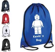 PERSONALISED Premium Drawstring Gym Sac LEGO  Bag School PE Kit Sport Girl Boy