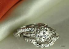 STERLING SILVER PRINCESS CZ BRIDAL ENGAGEMENT RING WEDDING PAVE HALO 3 RING SET♕
