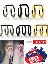 Surgical Steel Double/Triple Ring Ear Cuff Clip On Wrap Earrings No Piercing 1pc