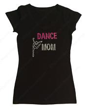 "Women's Rhinestone T-Shirt  "" Dance Mom "" in S, M, L, 1X, 2X, 3X Dancer, Bling"