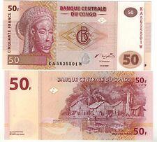 CONGO billet neuf  50FRANCS village de pecheurs Pick89 2007 masque africain