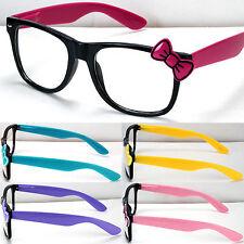 New Designer Clear Lens Frame Glasses Bow Bowknot Womens Hello Kitty Style Nerd