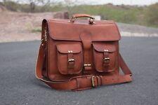 Vintage Leather messenger S toXXL laptop computer shoulder bag Briefcase Carryon