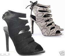 Womens Ladies High Heel Strappy Lace Open Peep Toe Sandals Cut Ankle Tassel Size