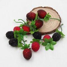 10pcs Fake Fruit Glass Strawberry Red Cherry Stamen Berries Artificial Flower