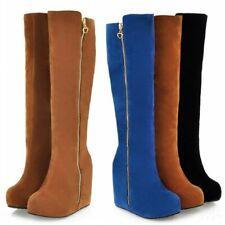 Women's Knee High Boots hidden High Wedge Heel Platform Side Zipper Casual Shoes