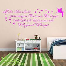 FAIRIES WINGS LITTLE GIRLS DREAMS WALL STICKER - GIRLS NURSERY WALL ART X419