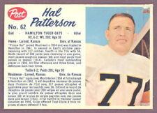 1962 POST CFL FOOTBALL #62 HAL PATTERSON EX+ HAMILTON TIGER CATS UNIV OF KANSAS