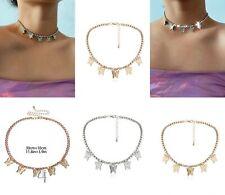 Butterfly rhinestone choker dainty sparkle silver gold choker collar necklace
