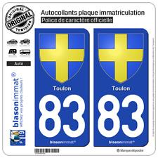 2 Stickers autocollant plaque immatriculation : 83 Toulon - Armoiries