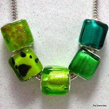 GREEN CUBES- 1 X Square Murano Glass European Charm Bead -Various Designs