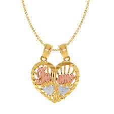 14k Tri-tone Gold 'Te Amo' Split Heart Pendant with 0.8-mm Square Wheat Chain