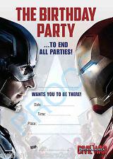 CAPITAN america guerra civile per bambini ragazzi festa di compleanno Inviti Pack x10 no52