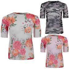 Womens Sheer See Through Mesh Khaki Floral Camo Short Sleeve Top T-Shirt