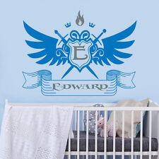 Boys Name Wall Decal Emblem Name Decal Monogram Sticker Nursery Room Decor U204