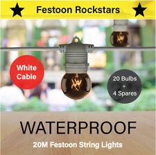 20m White Festoon Lights | Waterproof Outdoor String Lighting | Wedding Party