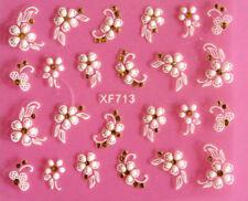 Pretty Lace White Flower Golden Rhinestone Wedding 3D Nail Art Stickers XF713