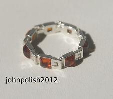AMBRA BALTICA Quadrato Pietra anello su argento 925