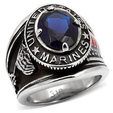 130 SAPPHIRE SIMULATED DIAMOND MENS RING STAINLESS STEEL USA MARINES SIGNET