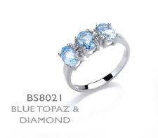 Topacio Azul y Diamante Anillo Plata Maciza De Ley 3 Piedras Compromiso