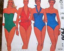 Vtg 80s swim suit PATTERN swimming swimsuit sz 6 B30 strapless halter FF Basile