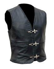 Mens Leather Fishhook Buckles Vest  Waistcoat  - Clearance