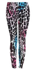 Womens Ladies Neon Pink Blue Animal Print Leopard Giraffe Fashion Leggings 8-22