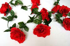 9 Blüten Rosengirlande 2,50 m Kunstblumen Blumen Hochzeit Taufe Dekor Rot K033