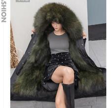100% Real Fur Coat Long Parka Jacket Women's Fur Clothing Hooded Big Fur collar