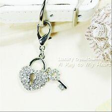 Dog/Cat Luxury Cute Collar Charm- A Key To My Heart Pet/Animal Crystal Silver