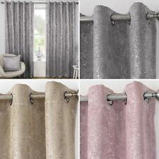 Designer Metallic Sparkle Bling Shimmer Thermal Blockout Eyelet Ring Curtains