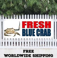 Banner Vinyl FRESH BLUE CRAB Advertising Flag Sign Seafood Market Shrimp Clams
