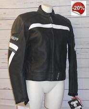 Giacca giubbotto moto scooter custom strada pelle donna A-pro Blink nero/bianco